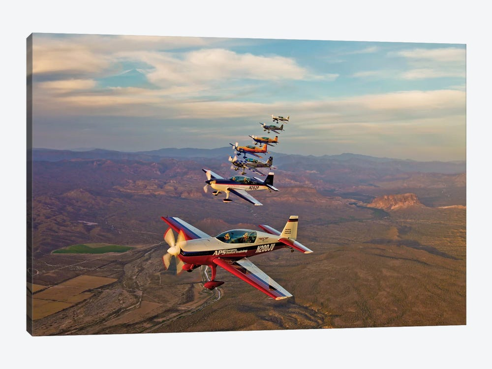 Extra 300 Aerobatic Aircraft Fly In Formation Over Mesa, Arizona III by Scott Germain 1-piece Canvas Print