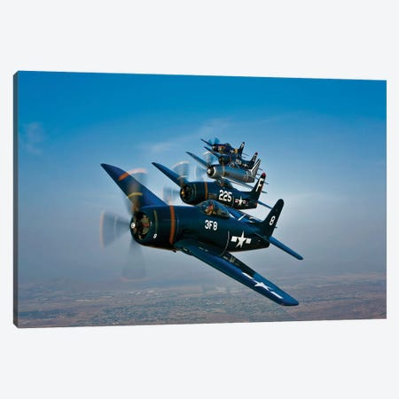 Five Grumman F8F Bearcats In Formation Canvas Print #TRK503} by Scott Germain Canvas Artwork