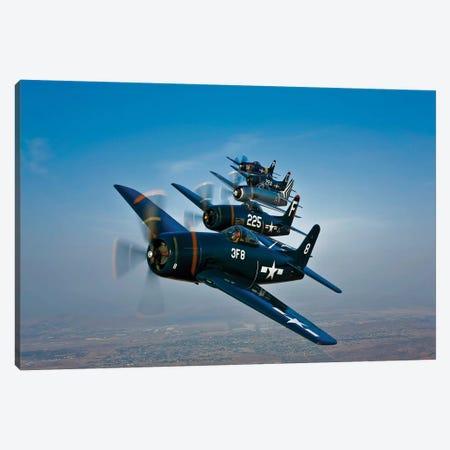 Five Grumman F8F Bearcats In Formation Canvas Print #TRK503} by Scott Germain Canvas Artwork