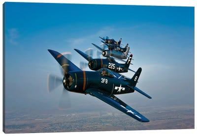 Five Grumman F8F Bearcats In Formation Canvas Art Print