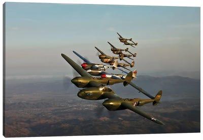 Historic Flight Of Five Lockheed P-38 Lightnings Canvas Art Print