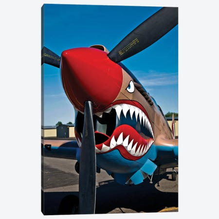 Nose Art On A Curtiss P-40E Warhawk II Canvas Print #TRK507} by Scott Germain Art Print