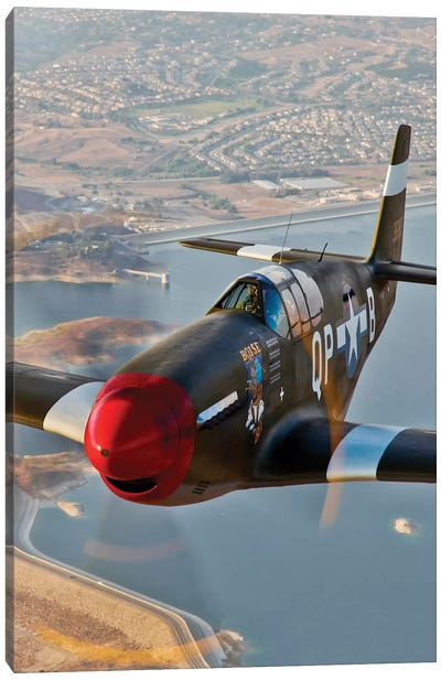 P-51B Mustang In Flight Over Chino, California Canvas Art Print