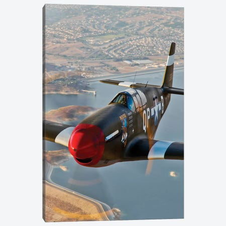 P-51B Mustang In Flight Over Chino, California Canvas Print #TRK508} by Scott Germain Canvas Art