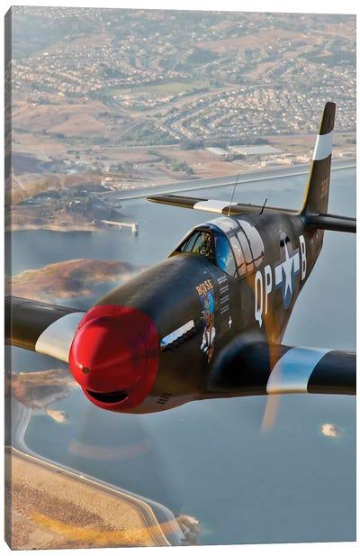 P-51B Mustang In Flight Over Chino, California Canvas Art Print