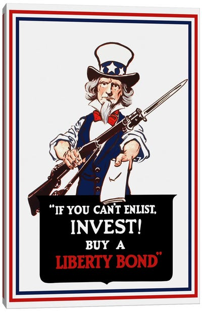 Uncle Sam Holding A Rifle And Holding Out A Liberty Bond Vintage Wartime Poster Canvas Art Print