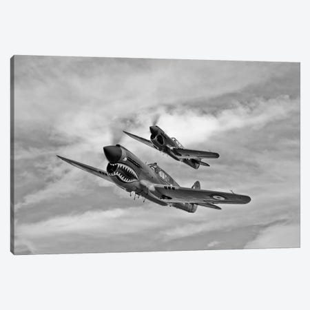 Two Curtiss P-40 Warhawks In Flight Near Nampa, Idaho 3-Piece Canvas #TRK510} by Scott Germain Canvas Print