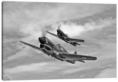 Two Curtiss P-40 Warhawks In Flight Near Nampa, Idaho Canvas Art Print