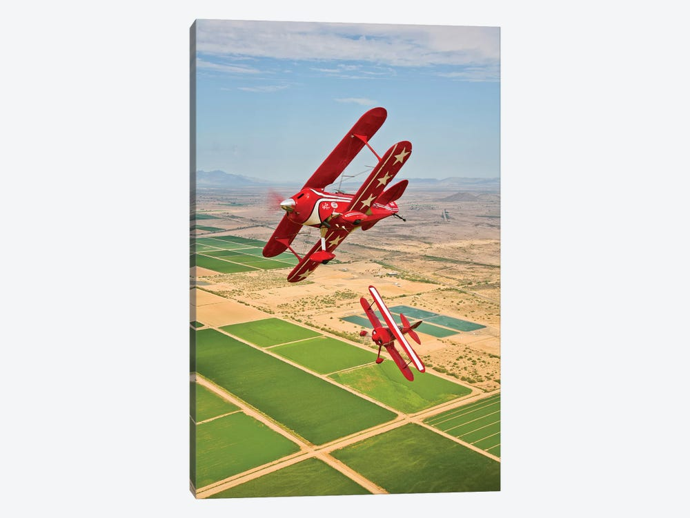 Two Pitts Special S-2A Aerobatic Biplanes In Flight Near Chandler, Arizona by Scott Germain 1-piece Art Print