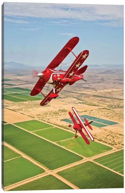 Two Pitts Special S-2A Aerobatic Biplanes In Flight Near Chandler, Arizona Canvas Art Print