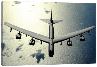 A B-52 Stratofortress In Flight Over The Pacific Ocean Canvas Art Print