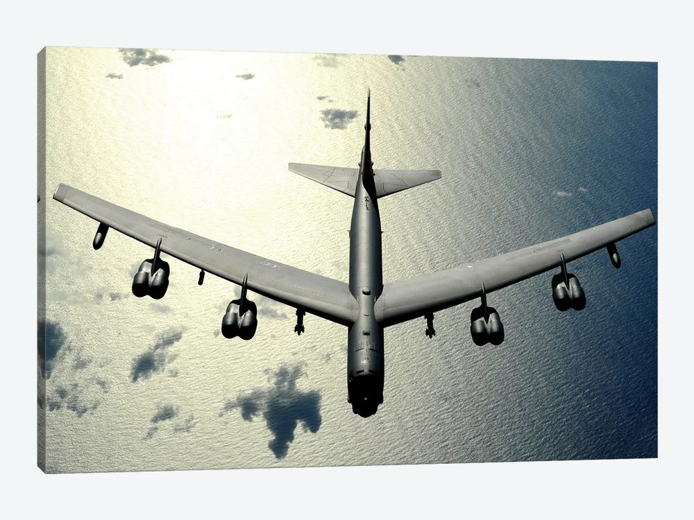 A B-52 Stratofortress In Flight Over The Pacific Ocean by Stocktrek Images 1-piece Canvas Print