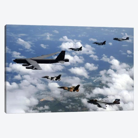 A B-52 Stratofortress Leads A Formation Of Aircraft Over Guam I Canvas Print #TRK523} by Stocktrek Images Canvas Artwork