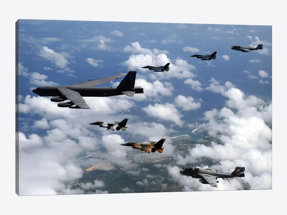 A B-52 Stratofortress Leads A Formation Of Aircraft Over Guam I by Stocktrek Images 1-piece Canvas Wall Art