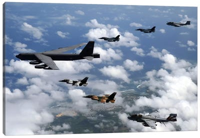 A B-52 Stratofortress Leads A Formation Of Aircraft Over Guam I Canvas Art Print
