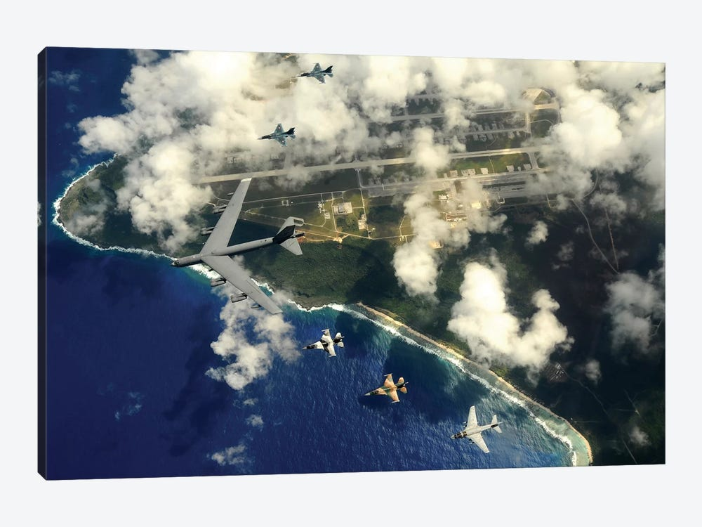 A B-52 Stratofortress Leads A Formation Of Aircraft Over Guam II by Stocktrek Images 1-piece Canvas Print