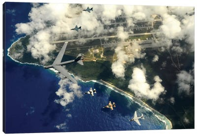 A B-52 Stratofortress Leads A Formation Of Aircraft Over Guam II Canvas Art Print