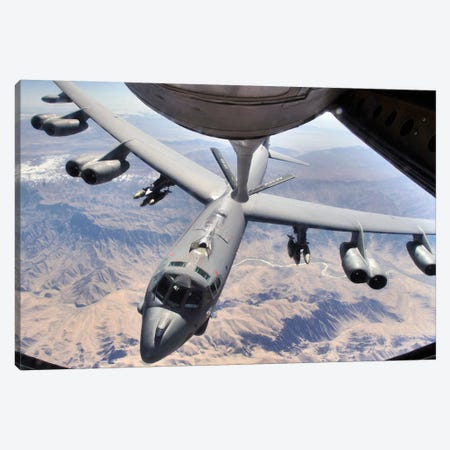 A B-52 Stratofortress Receives Fuel From A KC-135 Stratotanker Over Afghanistan Canvas Print #TRK525} by Stocktrek Images Art Print