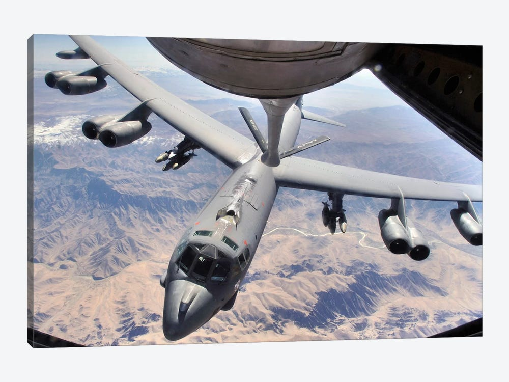 A B-52 Stratofortress Receives Fuel From A KC-135 Stratotanker Over Afghanistan by Stocktrek Images 1-piece Canvas Wall Art