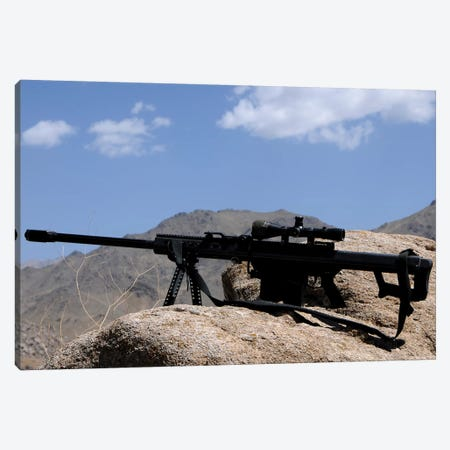 A Barrett 50-Caliber M107 Sniper Rifle Sits Atop An Observation Point In Afghanistan Canvas Print #TRK527} by Stocktrek Images Art Print