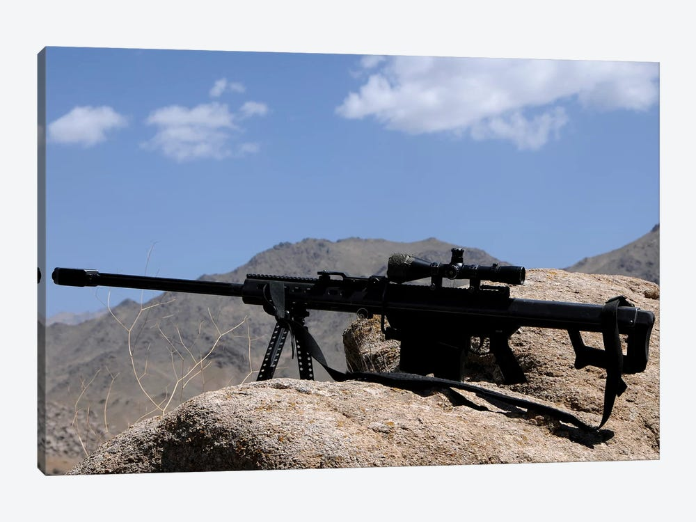 A Barrett 50-Caliber M107 Sniper Rifle Sits Atop An Observation Point In Afghanistan by Stocktrek Images 1-piece Canvas Wall Art
