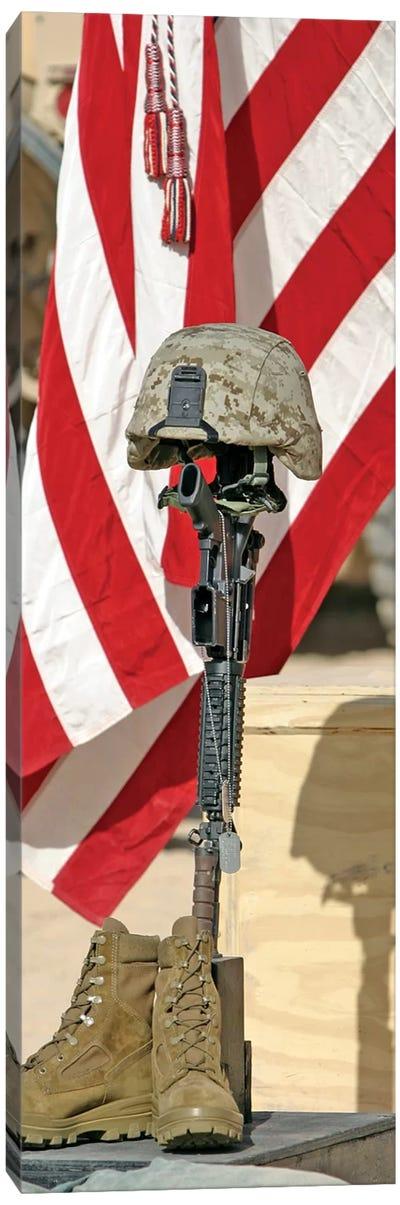 A Battlefield Memorial Cross Rifle Display Canvas Art Print