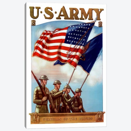 US Army Guardian Of The Colors Vintage Poster Canvas Print #TRK52} by John Parrot Canvas Art Print