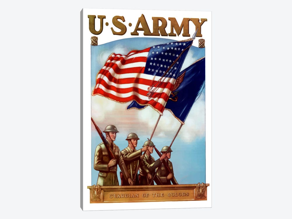 US Army Guardian Of The Colors Vintage Poster by John Parrot 1-piece Canvas Wall Art