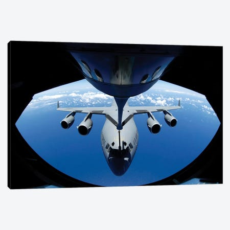 A C-17 Globemaster III Receives Fuel From A KC-135 Stratotanker Canvas Print #TRK533} by Stocktrek Images Art Print