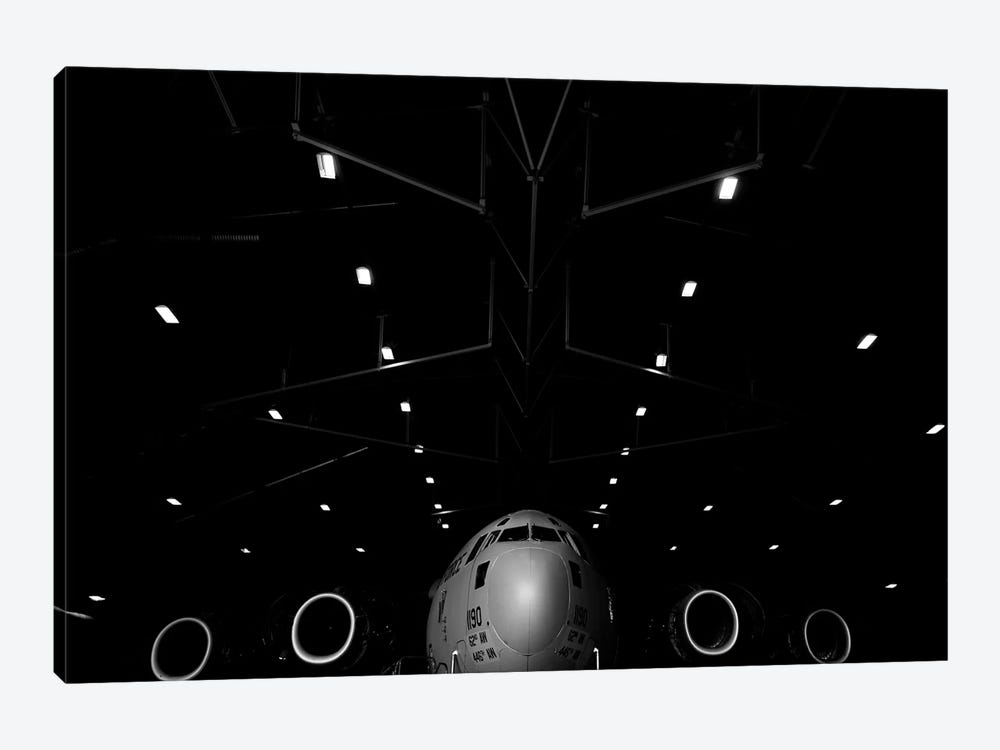 A C-17 Globemaster III Sits In A Hangar At McChord Field Air Force Base, Washington by Stocktrek Images 1-piece Canvas Print