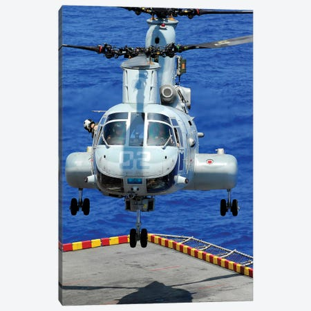 A CH-46E Sea Knight Helicopter Prepares To Land On The Flight Deck Of USS Peleliu Canvas Print #TRK538} by Stocktrek Images Canvas Art Print