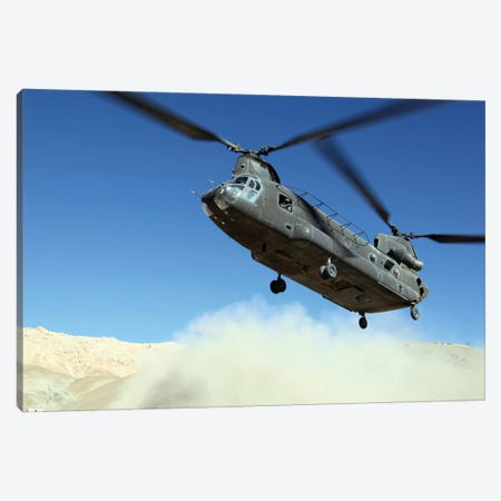 A CH-47 Chinook Prepares To Land Canvas Print #TRK539} by Stocktrek Images Art Print
