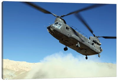 A CH-47 Chinook Prepares To Land Canvas Art Print