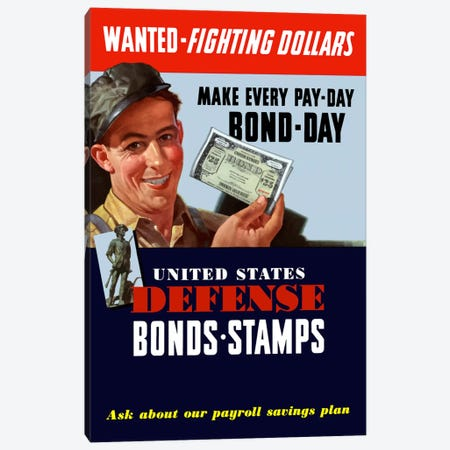 US Defense Bonds & Stamps Vintage Wartime Poster Canvas Print #TRK53} by John Parrot Art Print