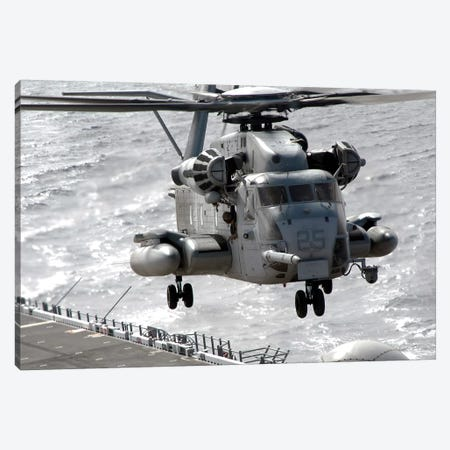 A CH-53E Super Stallion Helicopter Takes Off From USS Makin Island Canvas Print #TRK541} by Stocktrek Images Canvas Artwork