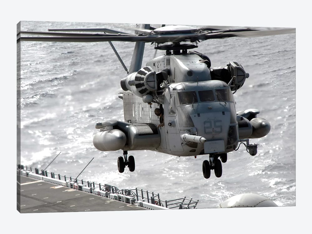 A CH-53E Super Stallion Helicopter Takes Off From USS Makin Island by Stocktrek Images 1-piece Canvas Art