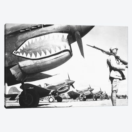 A Chinese Soldier Guards A Line Of American P-40 Fighter Planes During WWII Canvas Print #TRK542} by Stocktrek Images Canvas Wall Art