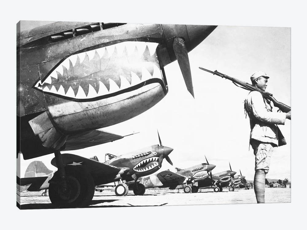 A Chinese Soldier Guards A Line Of American P-40 Fighter Planes During WWII by Stocktrek Images 1-piece Canvas Print