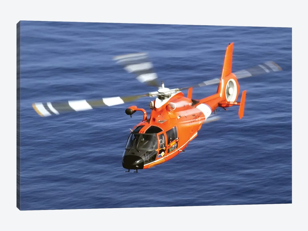 A Coast Guard HH-65A Dolphin Rescue Helicopter In Flight by Stocktrek Images 1-piece Canvas Artwork