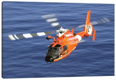 A Coast Guard HH-65A Dolphin Rescue Helicopter In Flight Canvas Art Print