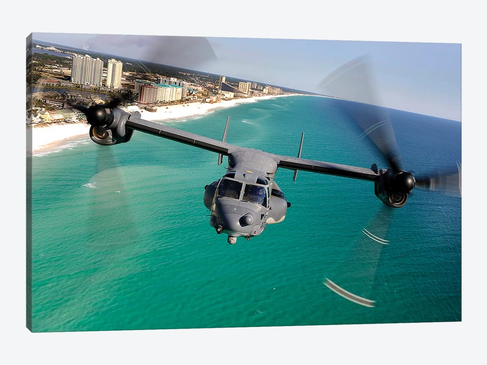 A CV-22 Osprey Aircraft Flies Over Florida's Emerald Coast by Stocktrek Images 1-piece Canvas Art