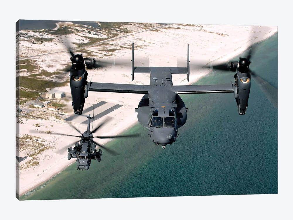 A CV-22 Osprey And An MH-53 Pave Low Fly Over The Coastline Of Florida by Stocktrek Images 1-piece Art Print