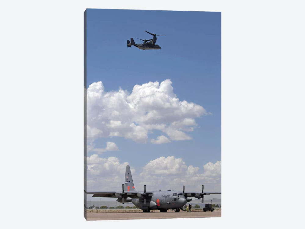A CV-22 Osprey Flies Over A C-130 Hercules by Stocktrek Images 1-piece Canvas Art