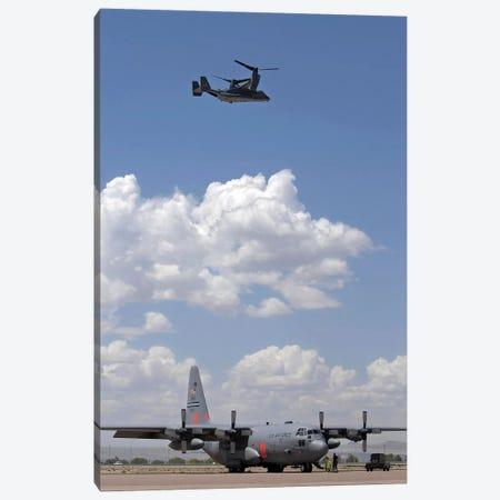 A CV-22 Osprey Flies Over A C-130 Hercules Canvas Print #TRK547} by Stocktrek Images Canvas Art Print