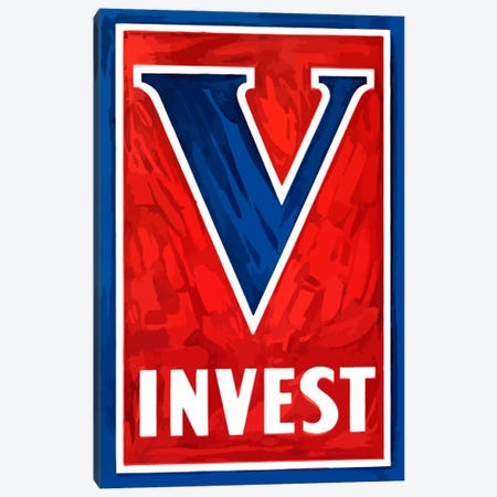 V For Victory - Invest Wartime Poster Canvas Print #TRK54} by John Parrot Canvas Art