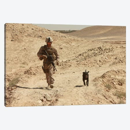 A Dog Handler Walks With An Explosives Detection Dog While On Patrol Canvas Print #TRK551} by Stocktrek Images Canvas Print