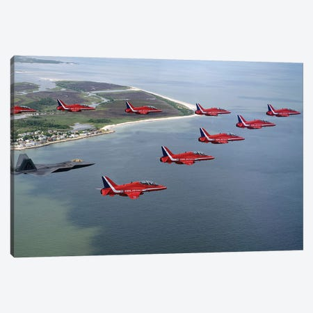 A F-22 Raptor Flies In Formation With The Royal Air Force Aerobatic Team, The Red Arrows Canvas Print #TRK552} by Stocktrek Images Canvas Print