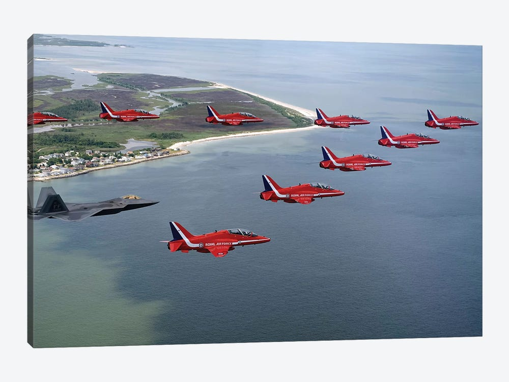 A F-22 Raptor Flies In Formation With The Royal Air Force Aerobatic Team, The Red Arrows by Stocktrek Images 1-piece Canvas Artwork