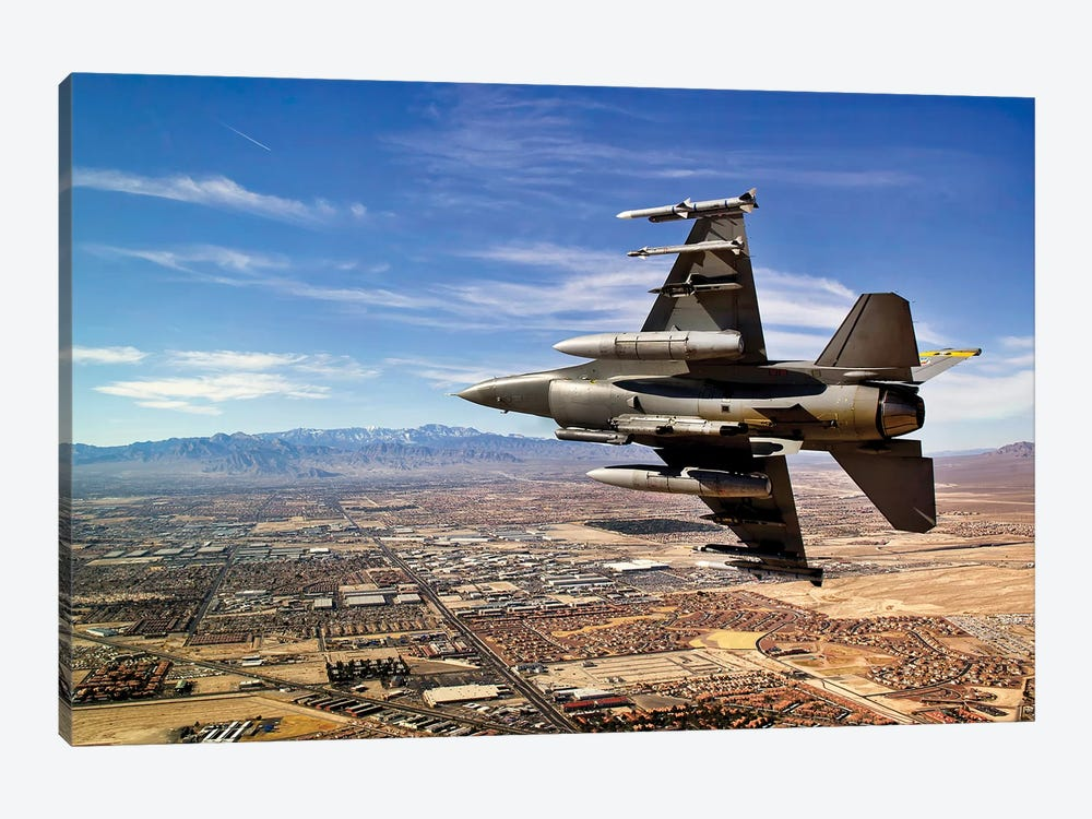 A Fighter Jet Breaks Right On A Final Approach Over Northern Las Vegas, Nevada by Stocktrek Images 1-piece Art Print