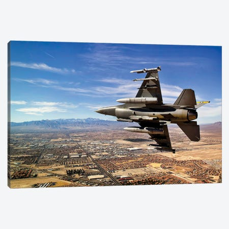 A Fighter Jet Breaks Right On A Final Approach Over Northern Las Vegas, Nevada Canvas Print #TRK553} by Stocktrek Images Canvas Print